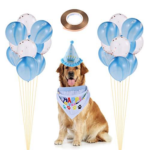 Rubywoo&chili Huisdier Party Decoratie Kit, Hond Verjaardag Bandana Set, inclusief Bandana Hoed ballon, voor Hond Verjaardag Party Accessoire, Blauw