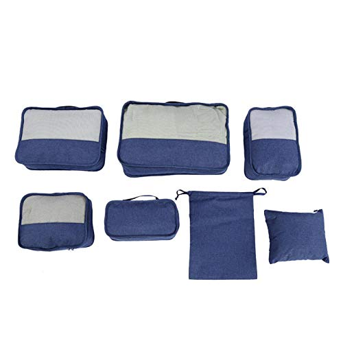 Vbestlife 7PCS Storage Bags Cubes Set, Compression Luggage Suitcase Organizer, Including 3 Packing Cubes, 3 Laundry Pouch, and 1 Bonus Gift for Shoe Bag(navy blue)