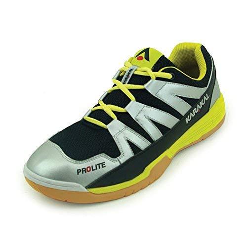 Karakal Chaussures de Sport Prolite pour Adulte, Unisexe, argenté/Jaune, Taille 45