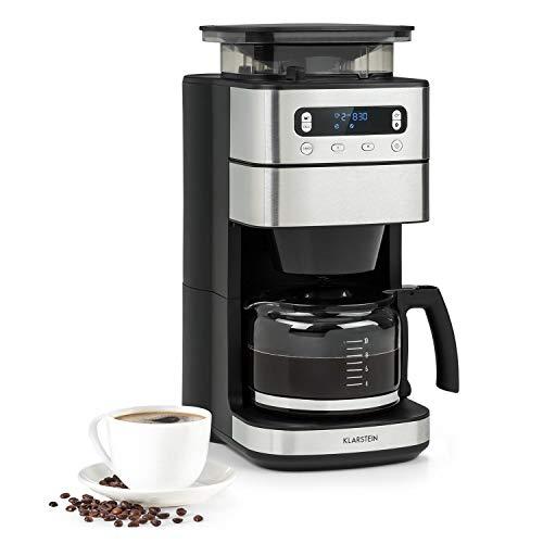 Klarstein Aromatica Taste 10 Kaffeemaschine, integriertes Mahlwerk, 180 g Bohnenbehälter, 2 / 4 / 6 / 8 / 10 Tassen, 1000 Watt, 1250 ml Glaskanne, Kaffeestärke: mild / stark, schwarz