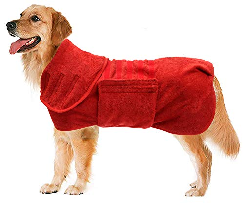 Geyecete Dog Drying Coat -Dry Fast Dog Bag - Dog Bathrobe Towel - Microfibre Fast Drying Super Absorbent Pet Dog Cat Bath Robe Towel,Luxuriously Soft-Red-L