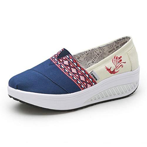 Zapatillas De Deporte De Cuña De Verano para Mujer Mocasines De Color Mezclado De Viento étnico Plataforma Zapatos De Oscilación De Lona Casuales Zapatillas De Enredaderas Transpirables