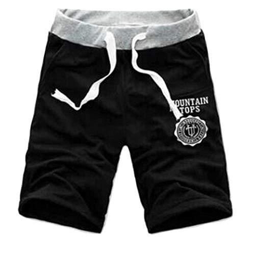 Hommes Shorts Moitié D'Été Plage Imprimé Coton Respirant Mode Casual en Plein Air Hommes Pantalones Doux Shorts M Noir