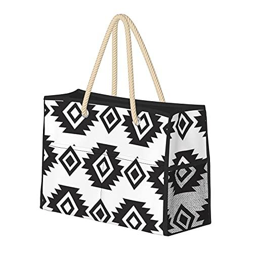 Bolso de playa grande sin costuras con diseño tribal en blanco y negro, bolso de hombro para mujer, bolso de mano con asas