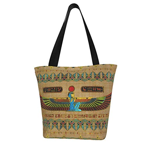 Personalised Canvas Tote Bag,Egyptian Goddess Isis Ornament On Papyrus Washable Handbag Shoulder Bag Grocery Bags Shopping Bag for Women