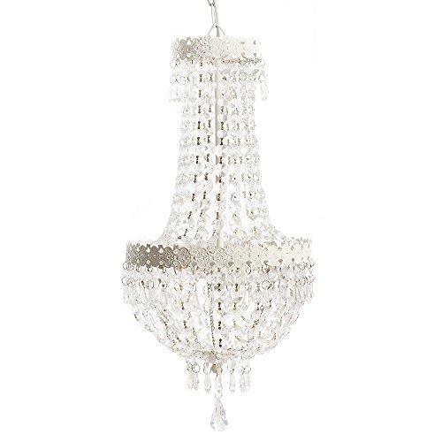 Grafelstein Kronleuchter Beau Chateau weiß Shabby chic Hängelampe Deckenlampe mit Kristallen