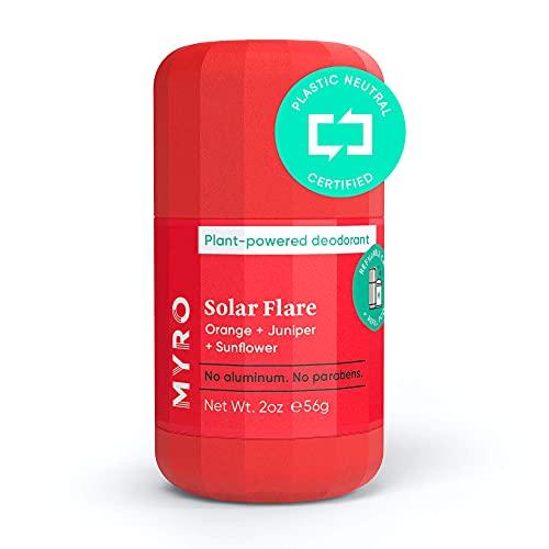 Myro Deodorant   Plant-based, Aluminum Free, Baking Soda Free, Cruelty Free & Vegan – Solar Flare Scent with Orange, Juniper, Sunflower