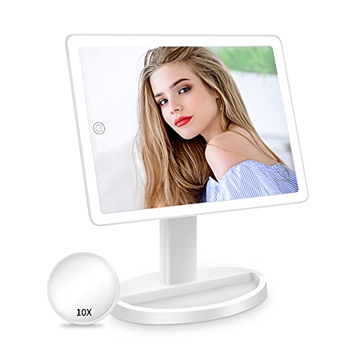 Large Lighted Vanity Makeup Mirror with Light (X-Large Model)- 3 Color Lighting Light Up Mirror with 88 LED, 360° Rotation Touch Screen, 10X Magnification Portable Tabletop Cosmetic Make Up Mirror