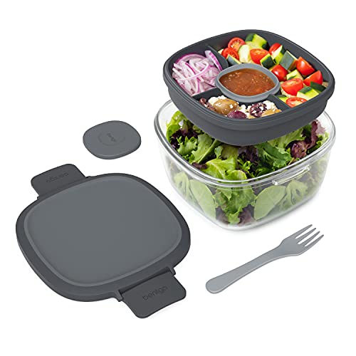 Bentgo Glass - Leak-Proof Salad Container with Large 61-oz Salad Bowl, 4-Compartment Bento-Style Tray for Toppings, 3-oz Sauce Container for Dressings, and Built-In Reusable Fork (Dark Gray)