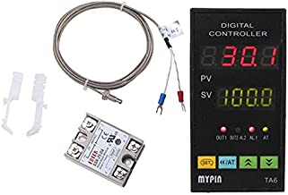 MYPIN® Universal Digital TA6-SNR PID Temperature Controller with Relay DIN 1/8 SSR-25DA and K type thermocouple,Dual Display for F/C,7 Output Combinations,Accuracy: 0.2%