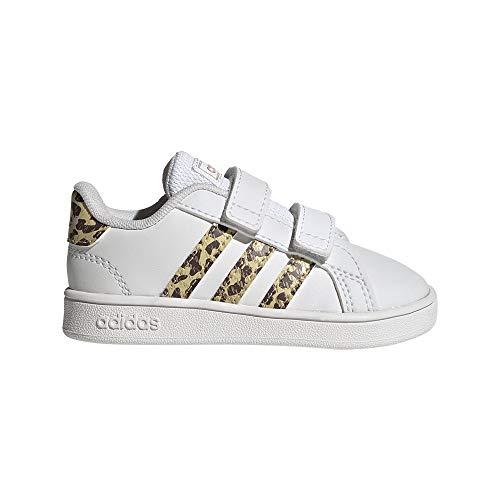adidas Unisex Baby Grand Court Sneaker, Cloud White/Cloud White/Champagne Metallic, 23 EU
