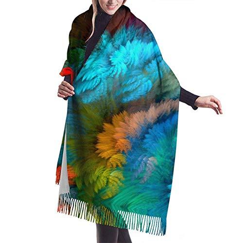 Bufanda larga cálida suave Otoño Invierno Abrigo de primavera Arcoíris Color Humo Chales ligeros piel Bufandas de cachemir adolescentes Adultos