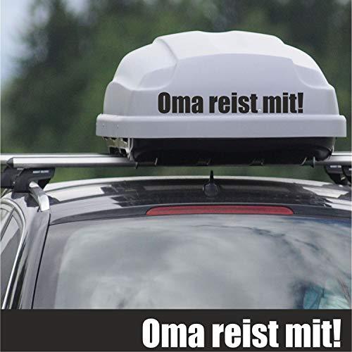 myrockshirt - Adhesivo para cajas de techo, diseño de abuela con texto en alemán 'Reist mit 40 cm, resistente a los rayos UV', color a elegir