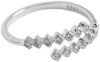 Lozse Anelli regolabili S925 argento intarsiato zircone anello geometrico minimalista di moda femminile
