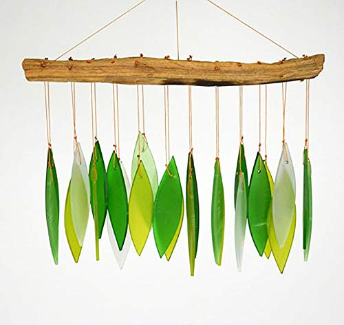 KensingtonRow Home Collection Chimes - Green Leaves Glass Windchime - Garden Decor - Glass & Drift Wood Windchime