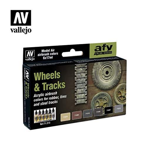 Vallejo 071213 Farbset, Reifen und Ketten, 6x17 ml