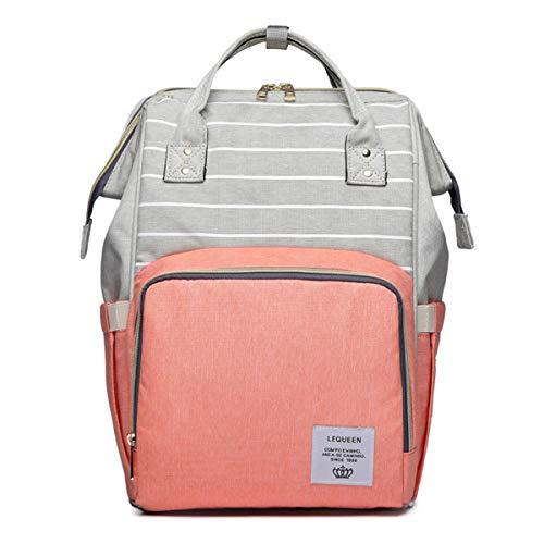Multifunktions Wasserdichte Rucksack Große Kapazität Rucksack Daypack Casual Schule Reisetasche Mutterschaft Windel Wickeltaschen Für Mädchen/jungen (Color : Grey+Pink)