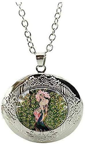 Peacock Dancer Locket Necklace Peacock Dancer Peacock Jewelry Peacock Gift Art Picture Jewelry