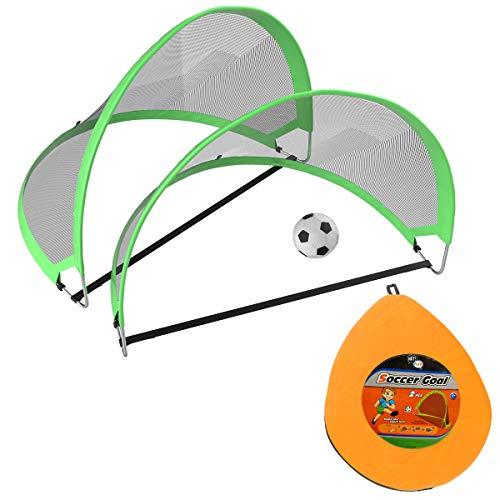 HEY! PLAY! Juego de 2 minicadenas de fútbol para niños con Bolsa de Transporte de Viaje y Juego portátil para Hacer Bolas.