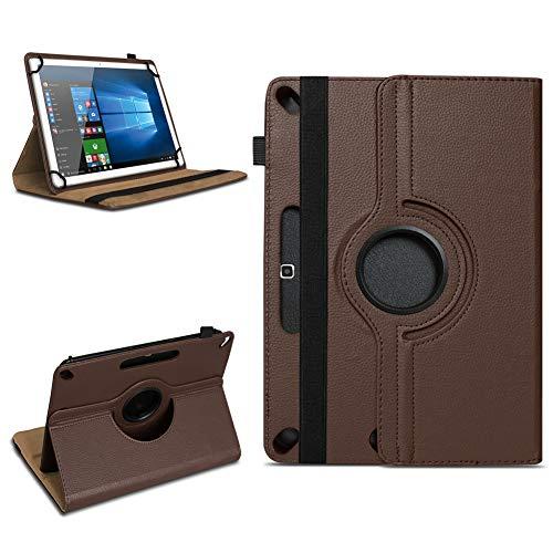 NAUC Schutzhülle kompatibel für Xido Z120 Z110 X111 X110 Tablet Tasche aus hochwertigem Kunstleder Universal 10.1 Hülle Standfunktion 360 Drehbar, Farben:Braun