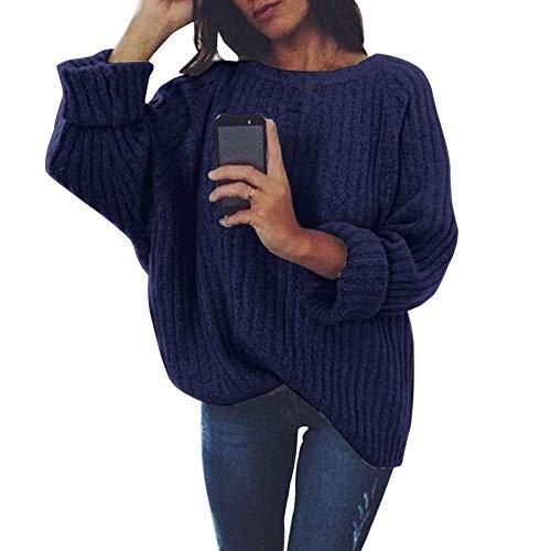 Bowen Jimmy Warm Autumn Winter Women Sweaters Pullovers Long Sleeve Women Sweater Loose Knitted Sweater Navy L