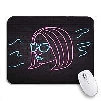 NINEHASA 可愛いマウスパッド メガネで美しい少女の青いネオンシルエットノートパソコン用マウスマット