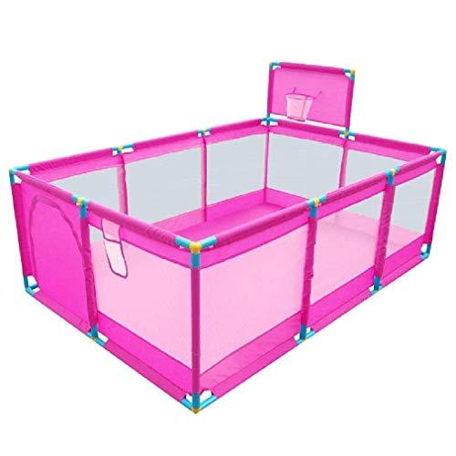 LUNAH Parque para niños Parque portátil para niños pequeños con Red Transpirable y aro de Baloncesto Valla de Juego al Aire Libre 66 cm de Altura fácil Montaje Rosa