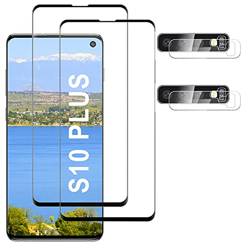 [2+2 Pack]Compatible for Samsung Galaxy S10 Plus Screen Protector, HD Clear Tempered Glass, Ultrasonic...
