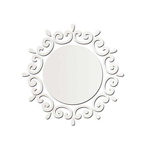 WINOMO Adesivo Specchio Parete Specchio Adesivi Rotondo 3D per Parete di Bagno Camera da Letto o Soggiorno