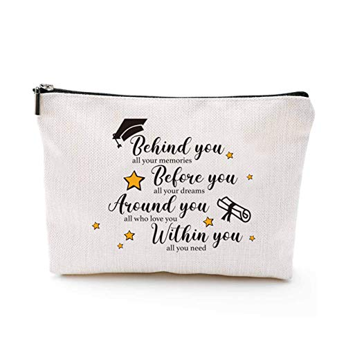 YouFangworkshop Inspirational Friendship Makeup Bag Gift for Her - Behind You All Your Memories Travel Portable Makeup Pouch for Best Friend Sister Classmate Congratulations Graduation Gift