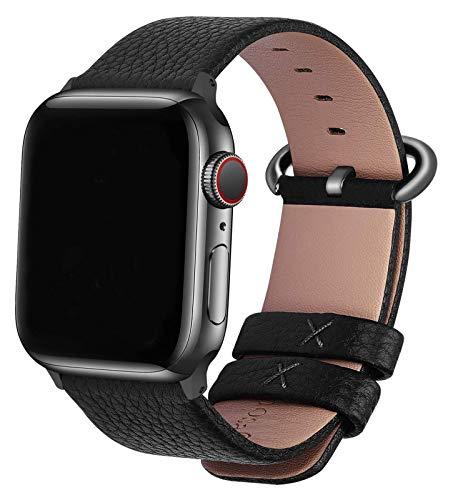 WYYHYPY Correa de reloj de apple de cuero 44mm 42mm, banda de iWatch compatible con la serie de relojes Apple SE 6 5 4 3 2 1, 42mm 44mm Black-Gunmetal-Gunmetal correa de reloj