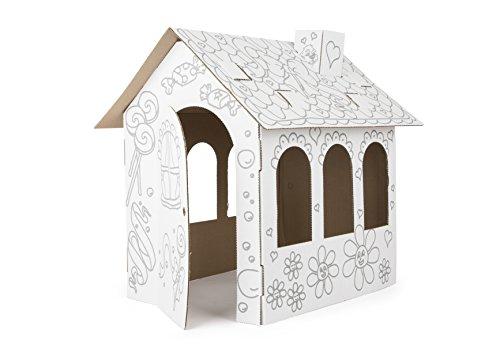 Small Foot 10762 Puppenhaus aus Pappe zum Ausmalen, schneller Aufbau, offene Türen und Fenster zum leichten Bespielen