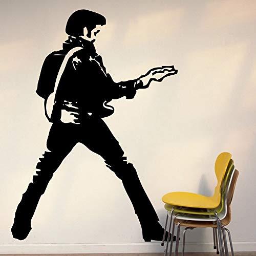 Etiqueta engomada del vinilo del arte de la alta calidad grande icono de la música de la guitarra de Elvis Presley Decoración de la etiqueta engomada del vinilo Decoración 58X80CM