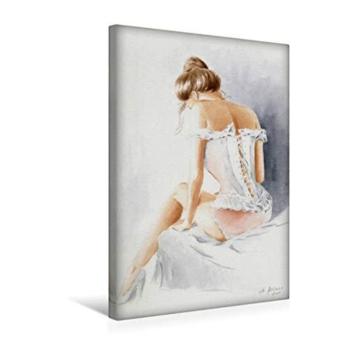 CALVENDO Premium Textil-Leinwand 30 cm x 45 cm hoch, Ruhende Venus | Wandbild, Bild auf Keilrahmen, Fertigbild auf echter Leinwand, Leinwanddruck: Erotik Aquarellgemälde Menschen Menschen