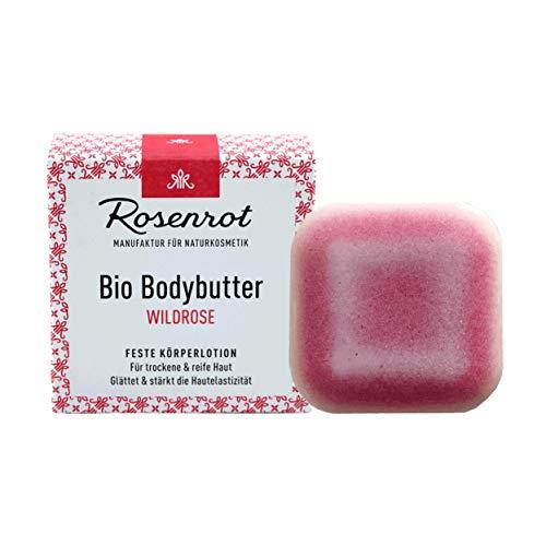 Rosenrot Naturkosmetik - Bio Bodybutter - Wildrose - 70g - Für trockene & reife Haut - Glättet & stärkt die Hautelastizität
