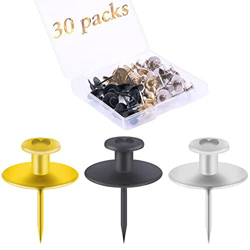 30 PCS Push Pins Picture Hanger Hooks, Double Headed Nails Push Pin for Wall Hanging Picture, Decorative Small Hook Pins for Drywall Cork Board Home Office Photo Decorations (Black, Gold, Silver)