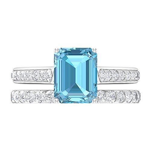 Anillo de compromiso de lujo, conjunto de anillos de novia, moissanite, alianzas de boda para mujeres 14K Oro blanco