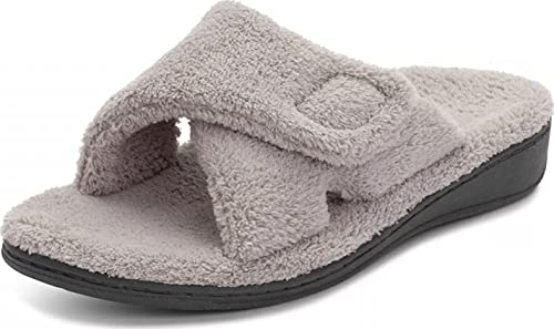 Vionic Women's Indulge Relax Slipper - Ladies Comfortable Cozy Adjustable House Slippers with Concealed Orthotic Arch Support Light Grey 11 Medium US