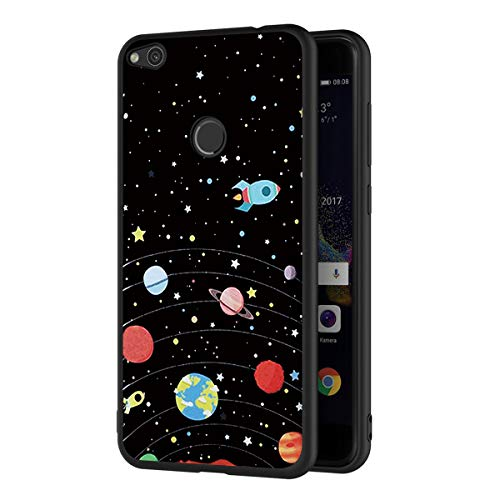 ZhuoFan Huawei P8 Lite 2017 Case, Phone Case Silicone Black with Pattern Ultra Slim Shockproof Soft Gel TPU Back Cover Bumper Skin for Huawei P8 Lite 2017 Smartphone (Stars Sky)