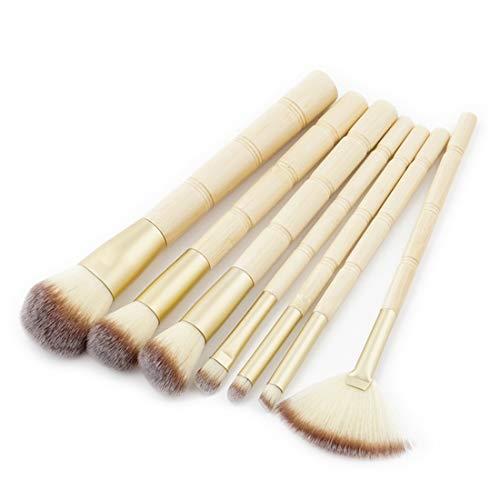 Chenzinan 7PCS Bamboo forme pinceau de maquillage Set Outils pinceau de maquillage Kit nylon Brosses cosmétiques professionnels pinceau yeux (Color : 7-piece)