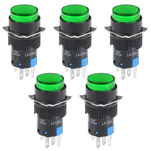 Sourcingmap, pulsante a scatto da 16 mm, verde, rotondo, piatto, 1 NO 1 NC, a18050400ux0055