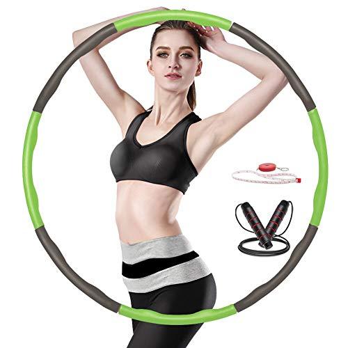 Yibaodan Hula Hoop Reifen, Fitness Hula Hoop Beschwerter mit Frei 3M Seilspringen und Klebeband zur Gewichtsreduktion 6-8 Segmente Abnehmbarer Hoola Hoop für Erwachsene Kinder Junge Damen (2-Grün)