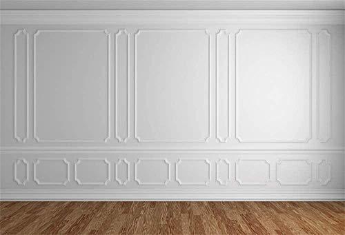 Habitación vacía Fondo arquitectónico Vinilo Fotografía Fondo Piso de Madera Clásico Gris Blanco Pared Telón de Fondo Casas Pisos Interior Vintage Gris Blanco 3D Decoración en blanco-5x3 pies