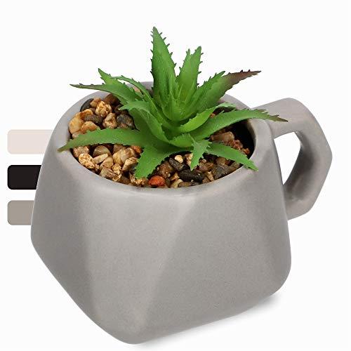 KADAX Plantas suculentas en maceta con asa, plantas artificiales en maceta, pequeñas plantas artificiales, plantas de decoración para salón, oficina (gris)
