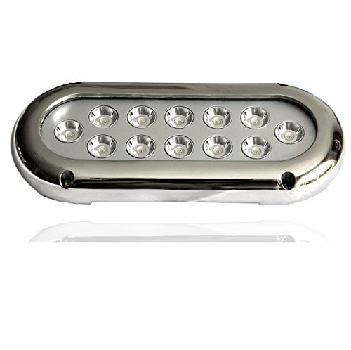 LIGHTEU, 12 x 3W LED éclairage sous-marin, pour bateaux Marine, Yacht, Piscine, inoxydable12V, 2,5W, IP68, 36W remplacer 360W, Lampe LED Moderne Bleu