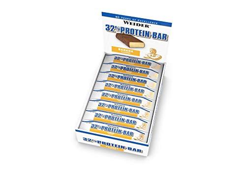 Weider 32% Protein Bar, Plátano - 24 Barras