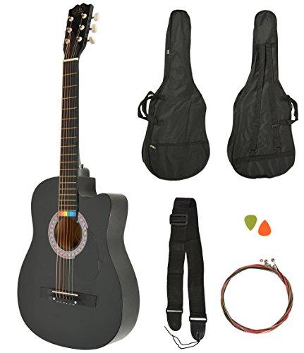 Akustik Western Gitarre Westerngitarre in Schwarz + Gitarrentasche + Gurt + Saiten