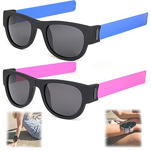 WBias&Belief 2 Paquetes Brazalete Plegable Gafas De Sol,Gafas De Sol Polarizadas Aqua Silver, Gafas de Sol Deportivas para Montar, Gafas Oscuras De Muñeca,Gafas De Sol para Hombres Y Mujeres,D
