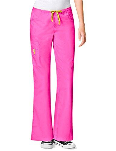 WonderWink Women's Flare Leg Cargo Pant, Peony, 3X-Large Tall