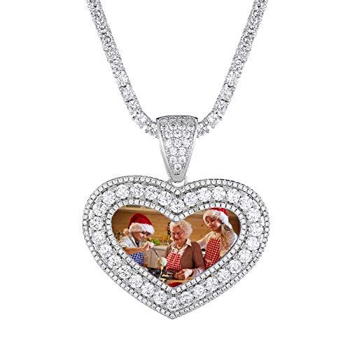 Collar personalizado con foto collar giratorio collar personalizado de hip hop collar de moda collar con colgante collar de pareja(Plata 22)